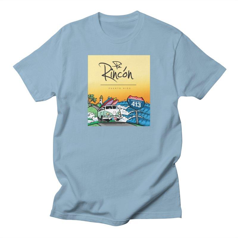 Pa' Rincón ( color ) in Men's Regular T-Shirt Light Blue by La Tiendita Pepito