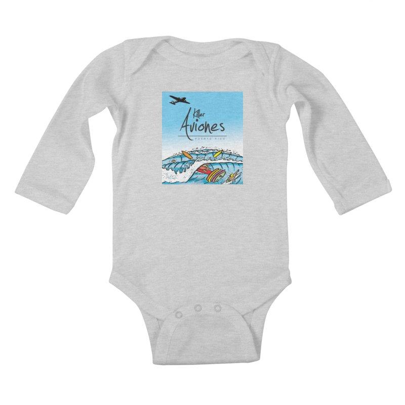 Killer Aviones Kids Baby Longsleeve Bodysuit by La Tiendita Pepito