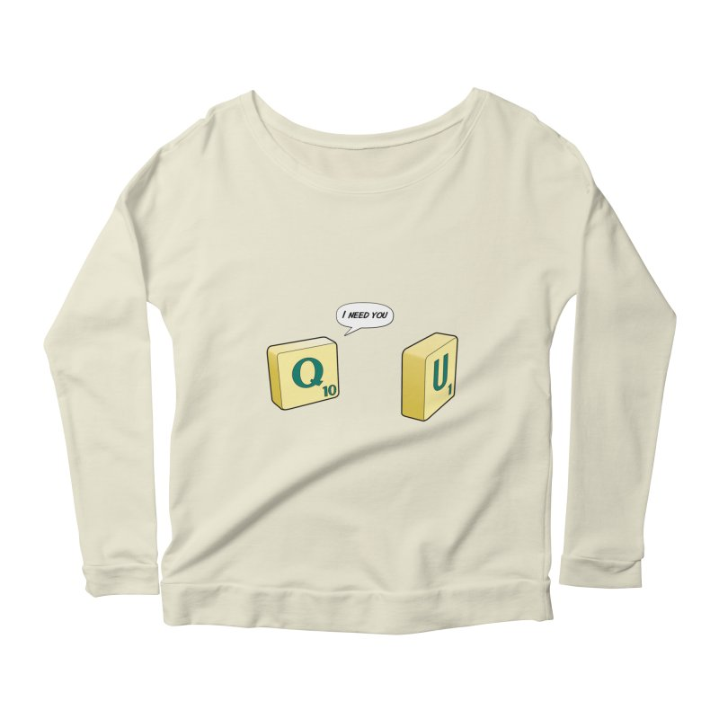 Scrabble love Women's Scoop Neck Longsleeve T-Shirt by peregraphs's Artist Shop