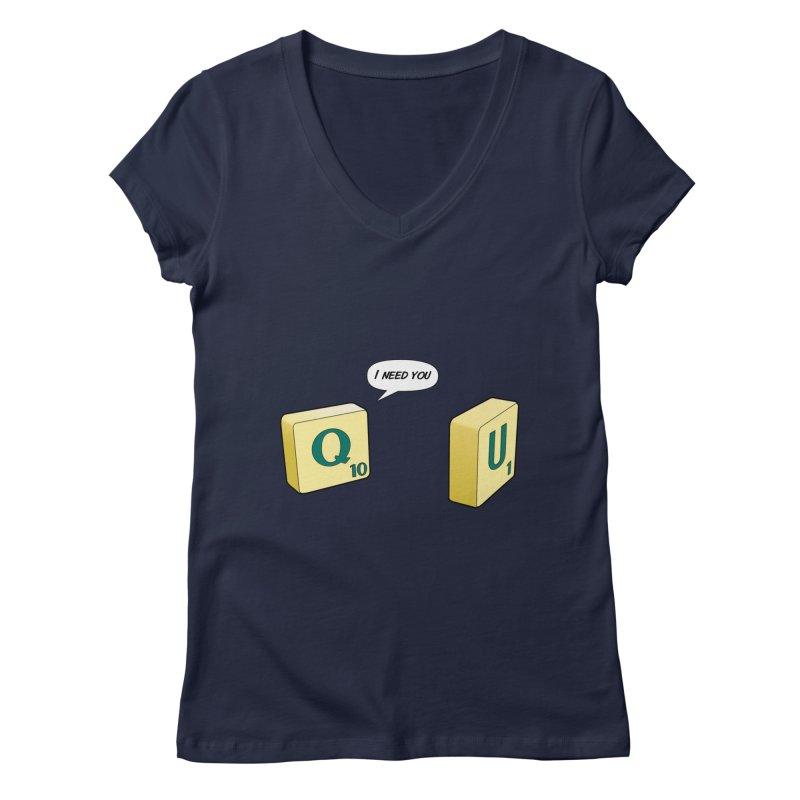 Scrabble love Women's V-Neck by peregraphs's Artist Shop