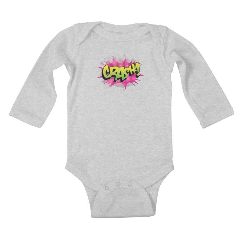 CRASH! Kids Baby Longsleeve Bodysuit by periwinkelle's Artist Shop