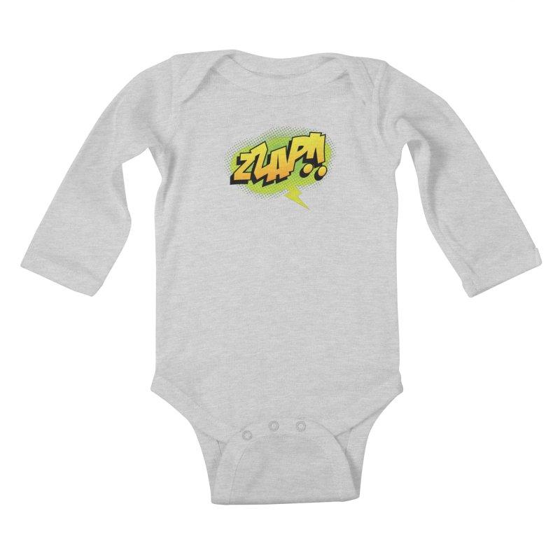 ZZAP!! Kids Baby Longsleeve Bodysuit by periwinkelle's Artist Shop