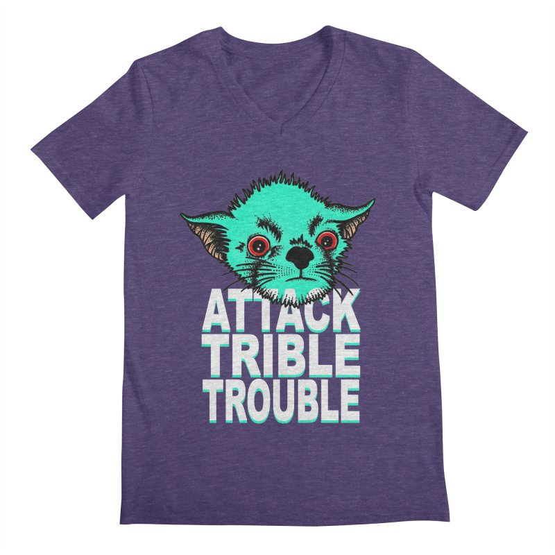 ATTACK TRIBLE TROUBLE Men's Regular V-Neck by pesst's Artist Shop