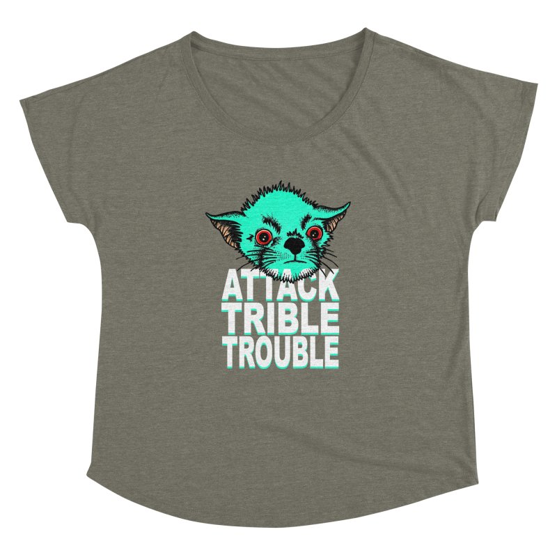 ATTACK TRIBLE TROUBLE Women's Dolman Scoop Neck by pesst's Artist Shop