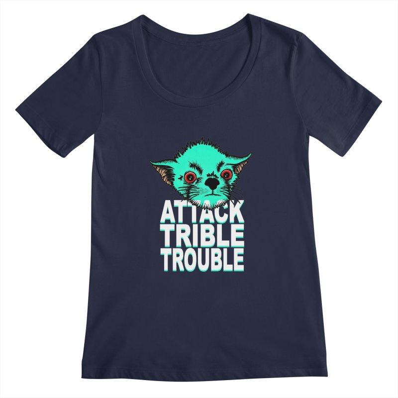 ATTACK TRIBLE TROUBLE Women's Regular Scoop Neck by pesst's Artist Shop