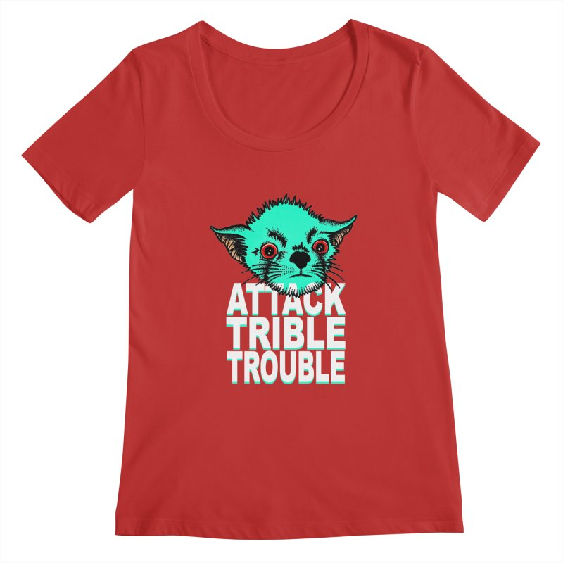 ATTACK TRIBLE TROUBLE Women's Scoopneck by pesst's Artist Shop