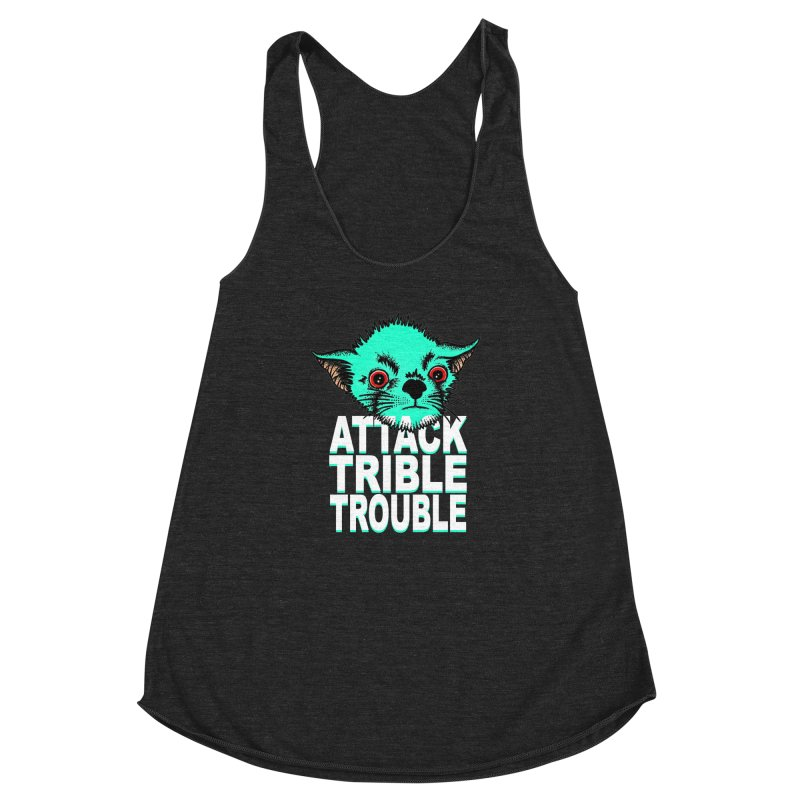 ATTACK TRIBLE TROUBLE Women's Racerback Triblend Tank by pesst's Artist Shop