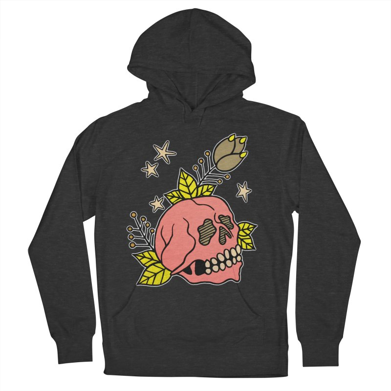 Pink Skull Men's French Terry Pullover Hoody by pesst's Artist Shop
