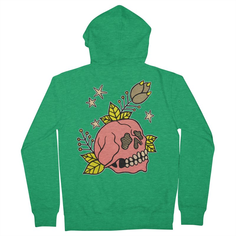 Pink Skull Men's French Terry Zip-Up Hoody by pesst's Artist Shop