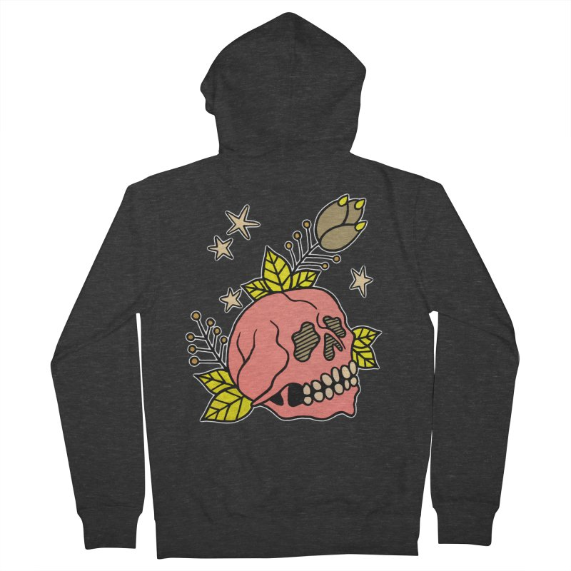 Pink Skull Men's French Terry Zip-Up Hoody by pesst's Artist Shop
