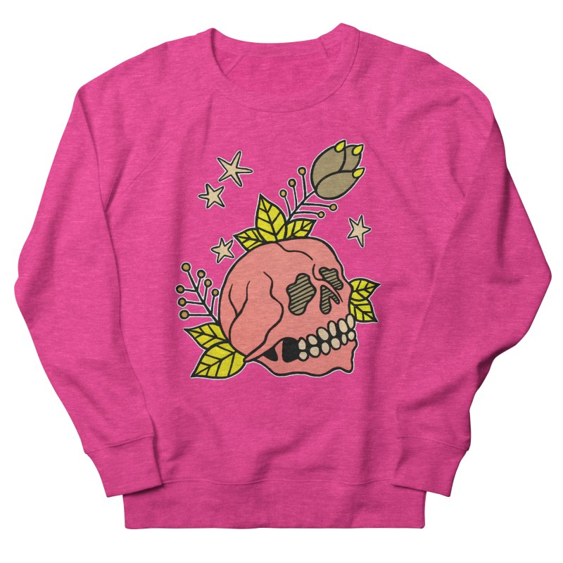 Pink Skull Men's French Terry Sweatshirt by pesst's Artist Shop
