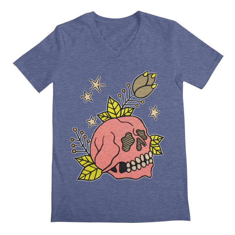 Pink Skull Men's V-Neck by pesst's Artist Shop
