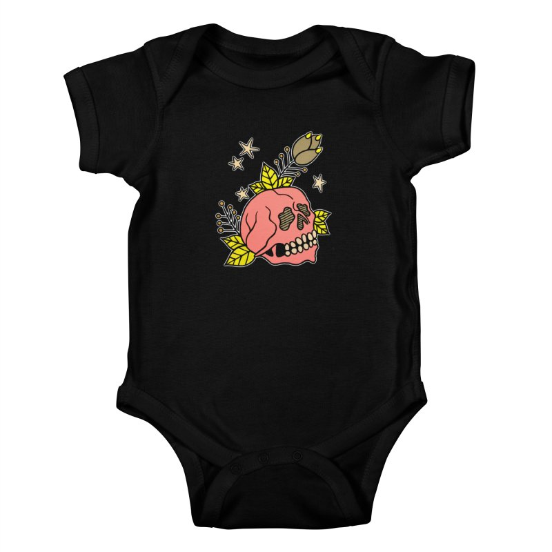 Pink Skull Kids Baby Bodysuit by pesst's Artist Shop