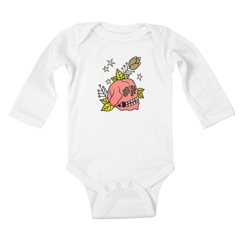 Pink Skull Kids Baby Longsleeve Bodysuit by pesst's Artist Shop