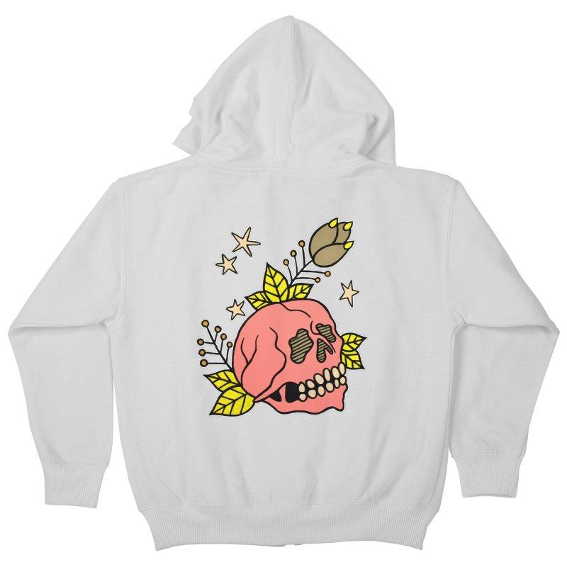 Pink Skull Kids Zip-Up Hoody by pesst's Artist Shop