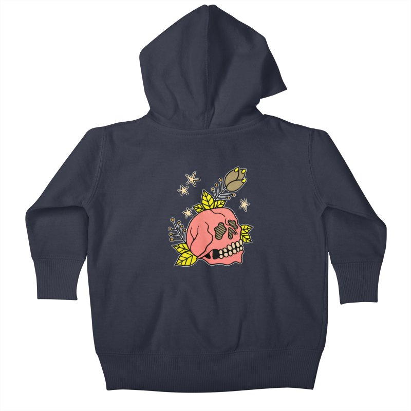 Pink Skull Kids Baby Zip-Up Hoody by pesst's Artist Shop