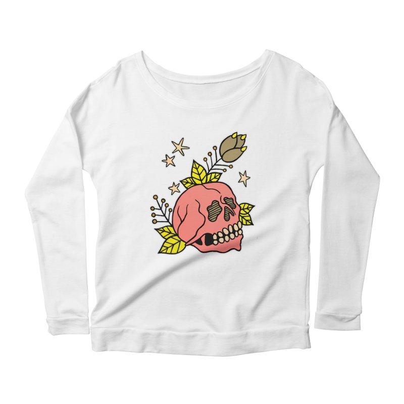 Pink Skull Women's Longsleeve Scoopneck  by pesst's Artist Shop