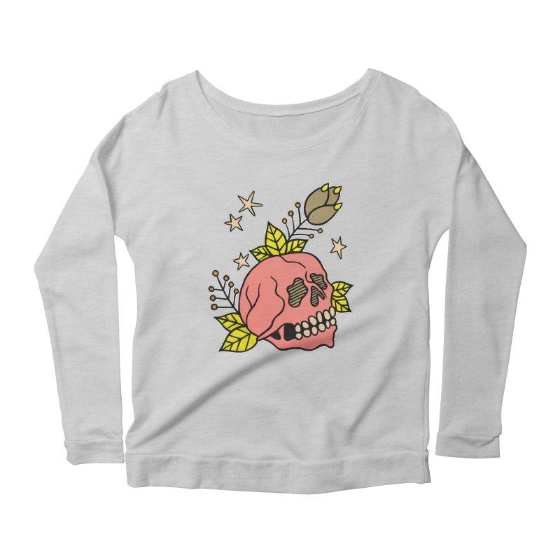 Pink Skull Women's Scoop Neck Longsleeve T-Shirt by pesst's Artist Shop