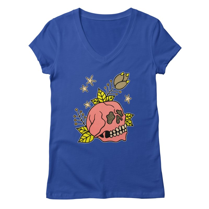 Pink Skull Women's Regular V-Neck by pesst's Artist Shop