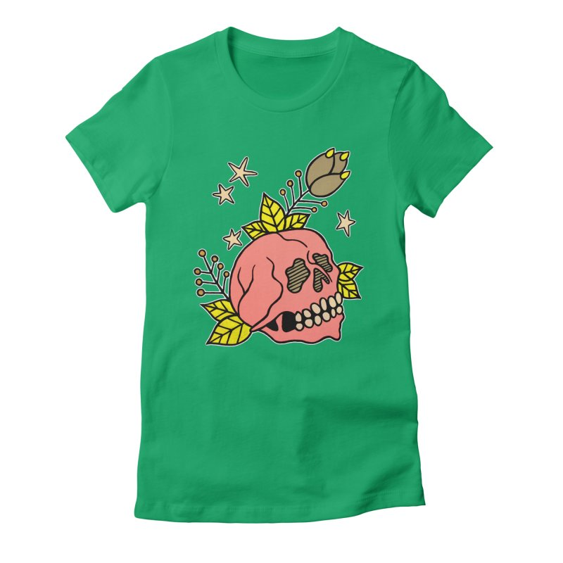 Pink Skull Women's Fitted T-Shirt by pesst's Artist Shop