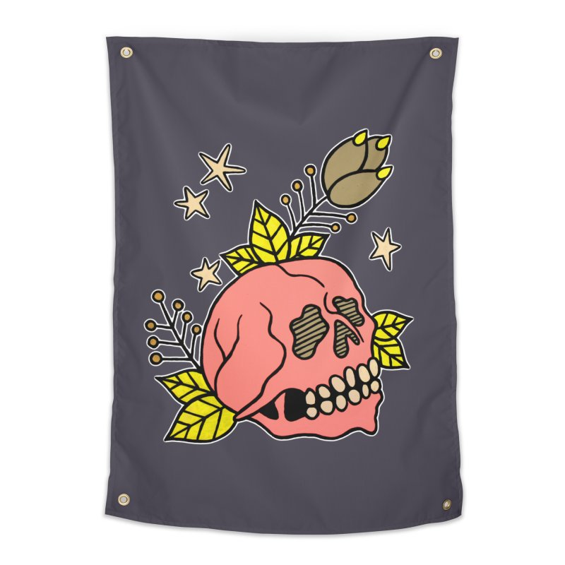 Pink Skull Home Tapestry by pesst's Artist Shop