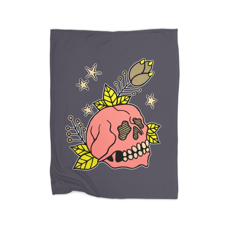 Pink Skull Home Fleece Blanket Blanket by pesst's Artist Shop