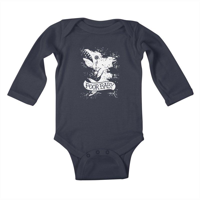 Poor Baby Splatter Shark Kids Baby Longsleeve Bodysuit by pesst's Artist Shop