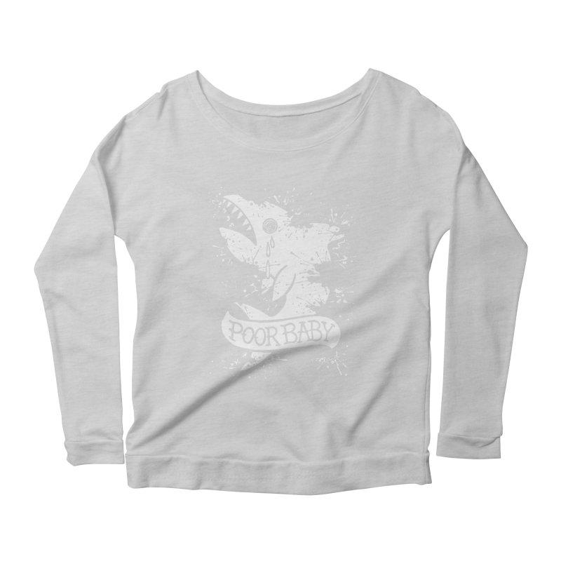 Poor Baby Splatter Shark Women's Scoop Neck Longsleeve T-Shirt by pesst's Artist Shop