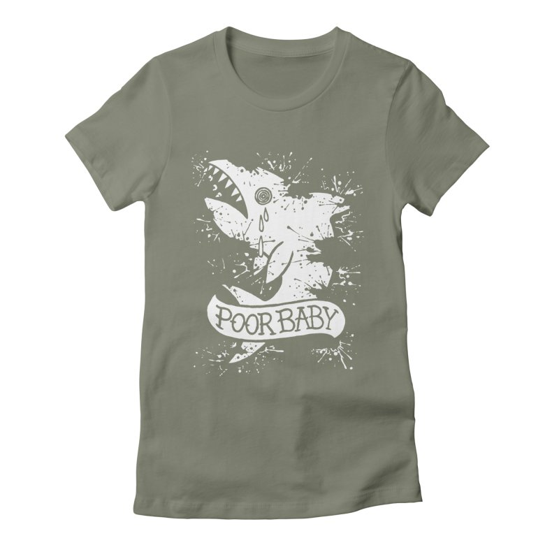 Poor Baby Splatter Shark Women's Fitted T-Shirt by pesst's Artist Shop