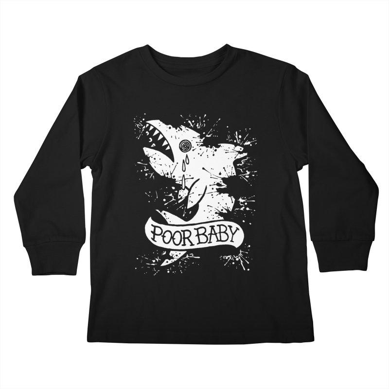 Poor Baby Splatter Shark Kids Longsleeve T-Shirt by pesst's Artist Shop
