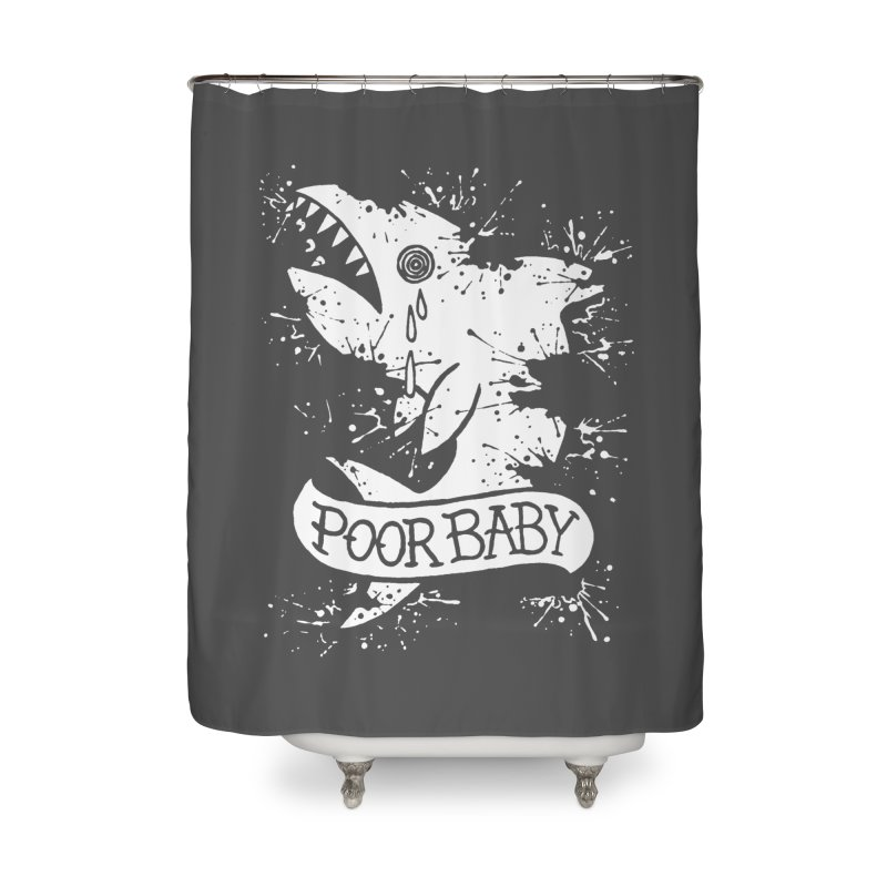 Poor Baby Splatter Shark Home Shower Curtain by pesst's Artist Shop