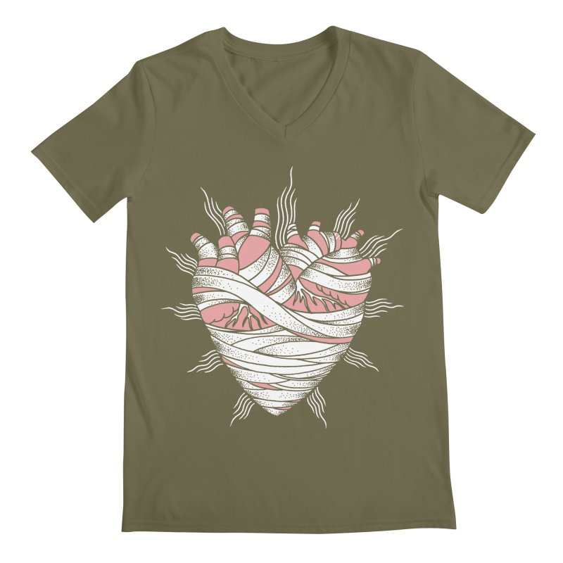 Heart of the Mummy Men's Regular V-Neck by pesst's Artist Shop