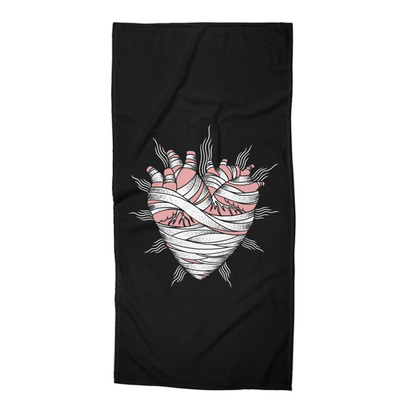 Heart of the Mummy Accessories Beach Towel by pesst's Artist Shop