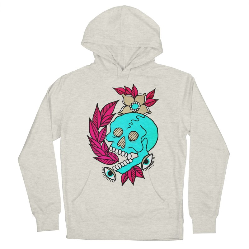 Blue Skull Women's French Terry Pullover Hoody by pesst's Artist Shop
