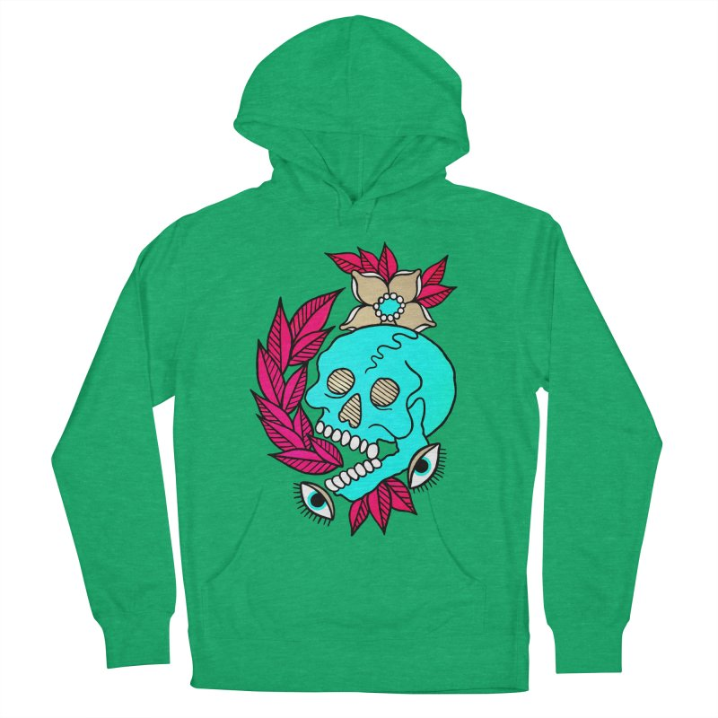 Blue Skull Men's French Terry Pullover Hoody by pesst's Artist Shop