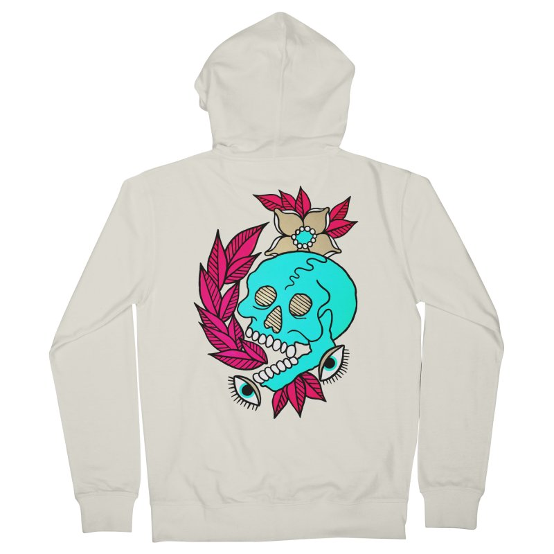 Blue Skull Women's French Terry Zip-Up Hoody by pesst's Artist Shop