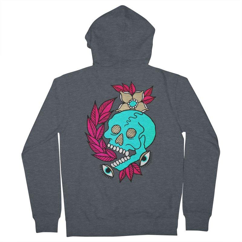 Blue Skull Men's French Terry Zip-Up Hoody by pesst's Artist Shop