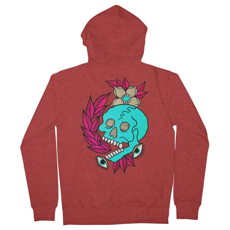 Blue Skull Men's French Terry Zip-Up Hoody by pesst's Artist Shop