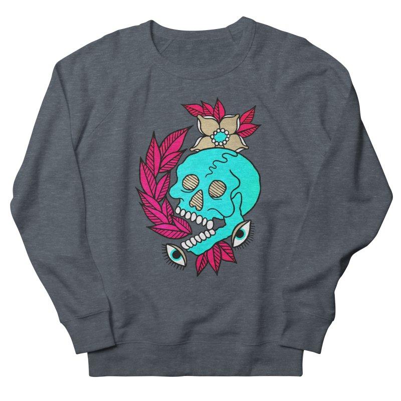 Blue Skull Women's French Terry Sweatshirt by pesst's Artist Shop