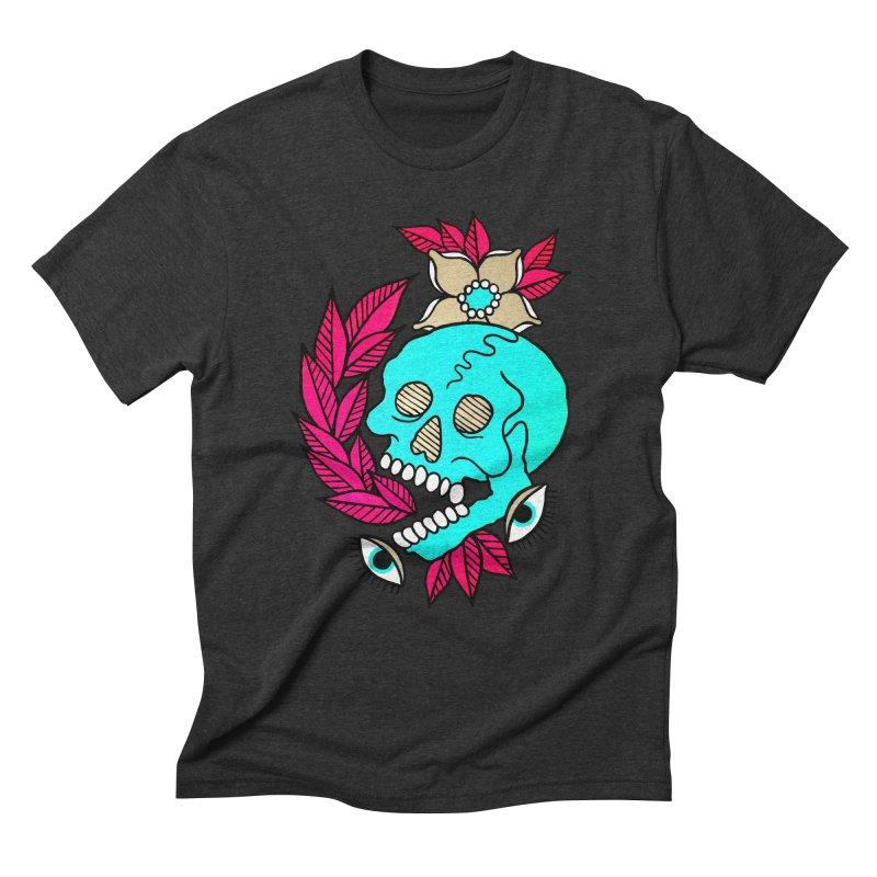 Blue Skull Men's Triblend T-Shirt by pesst's Artist Shop
