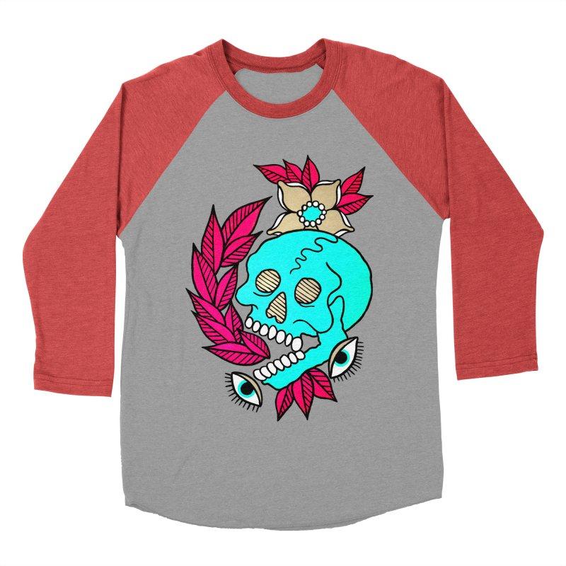Blue Skull Women's Baseball Triblend T-Shirt by pesst's Artist Shop
