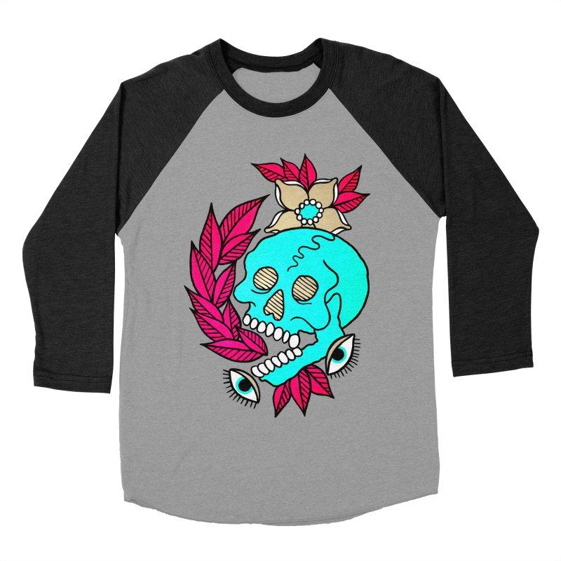 Blue Skull Women's Baseball Triblend Longsleeve T-Shirt by pesst's Artist Shop