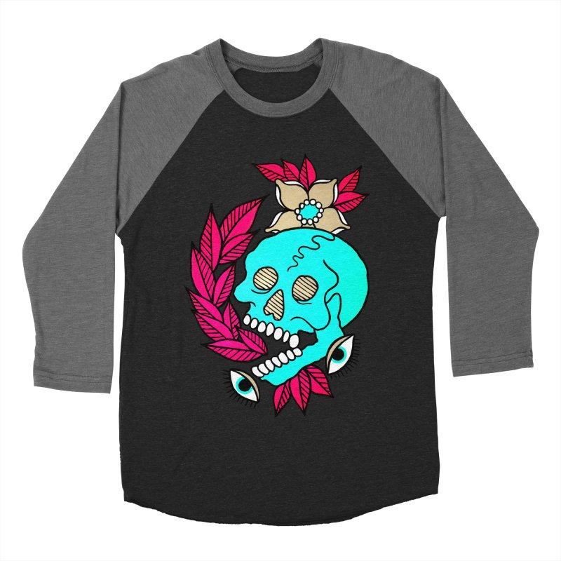Blue Skull Men's Baseball Triblend Longsleeve T-Shirt by pesst's Artist Shop