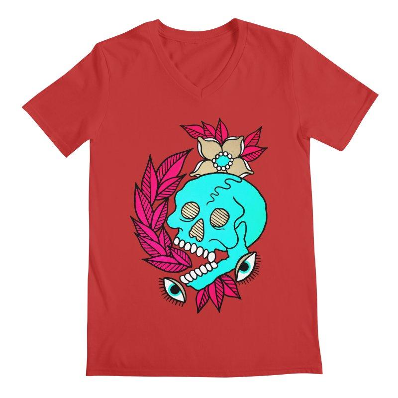 Blue Skull Men's V-Neck by pesst's Artist Shop