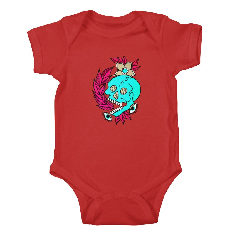 Blue Skull Kids Baby Bodysuit by pesst's Artist Shop