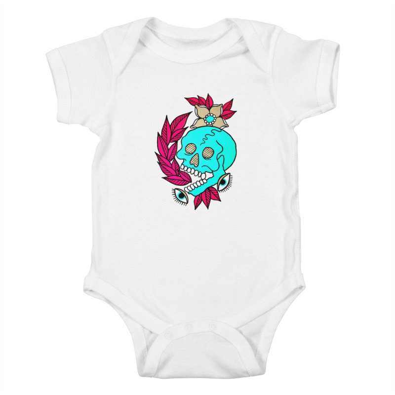 Blue Skull Kids Baby Bodysuit by pesst's Artist Shop