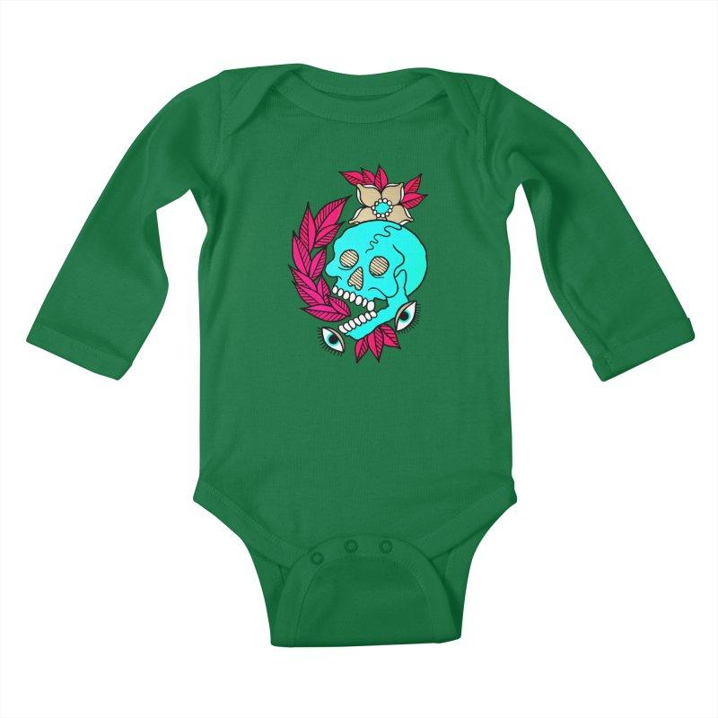 Blue Skull Kids Baby Longsleeve Bodysuit by pesst's Artist Shop