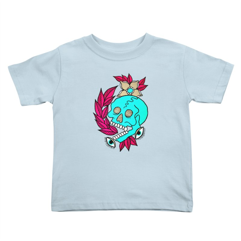 Blue Skull Kids Toddler T-Shirt by pesst's Artist Shop