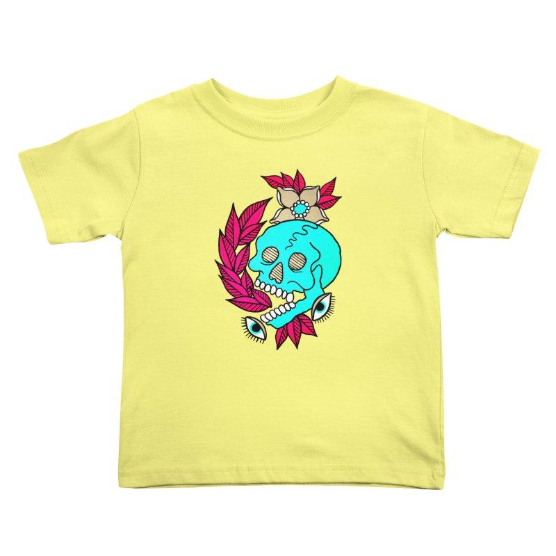 Blue Skull Kids Toddler T-Shirt by pesst's Artist Shop