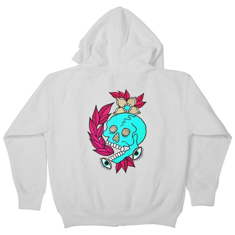 Blue Skull Kids Zip-Up Hoody by pesst's Artist Shop